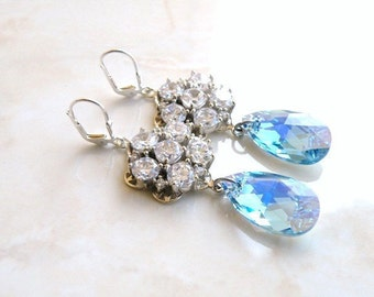 Wedding Jewelry Swarovski Earrings Blue CZ  Sterling Silver Chandelier AE4