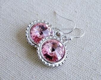 Swarovski Pink Earrings Rivoli Sterling Silver BE16
