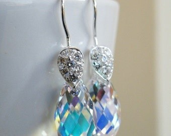 Swarovski Crystal Earrings AB Teardrop Sterling Dangle BE8