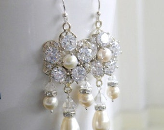 Swarovski Ivory Pearl CZ Sterling Chandelier Earrings GE1