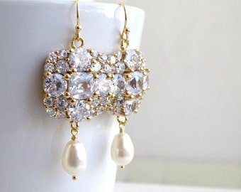 Swarovski Ivory Teardrop Pearl Cushion CZ Gold Chandelier Earrings IE5