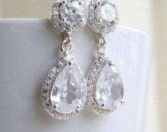 Bridal Earrings Pear CZ Teardrop Silver Post Stud CNEP2
