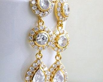 Bridal Earrings Teardrop CZ Gold Filled Stud CNE8G
