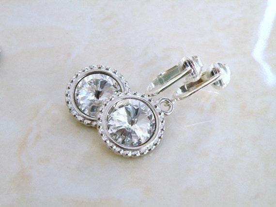 Clip On Earrings Swarovski Crystal Rivoli Sterling Silver BEC16