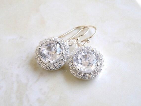 Bridal Earrings CZ Sterling Silver Halo Dangle CNE2B