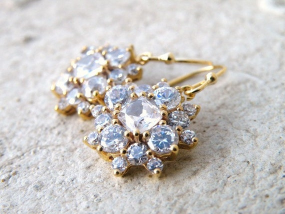 Cushion Cubic Zirconia Gold Filled Earrings IE1