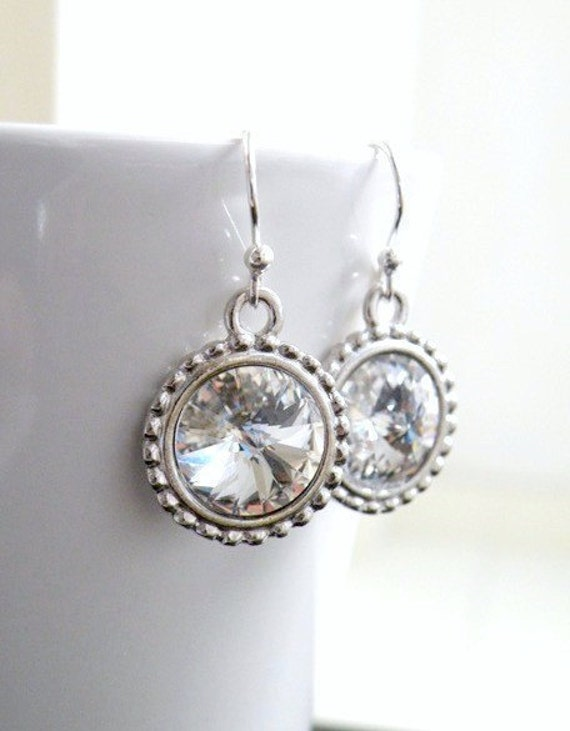 Swarovski Crystal Earrings Rivoli Sterling Silver BE16