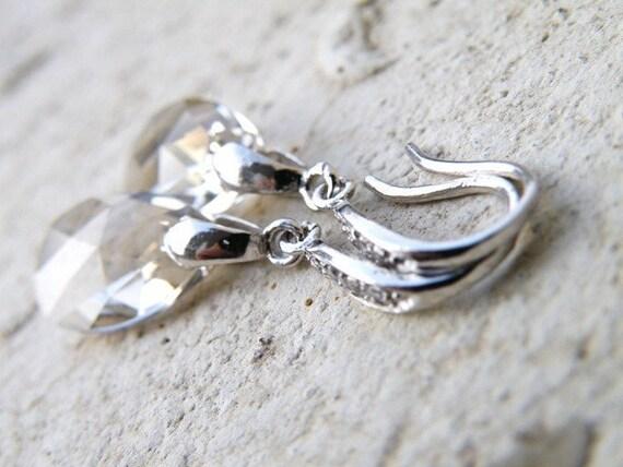 Swarovski Silver Crystal EarringsTeardrop Sterling Dangle BE33