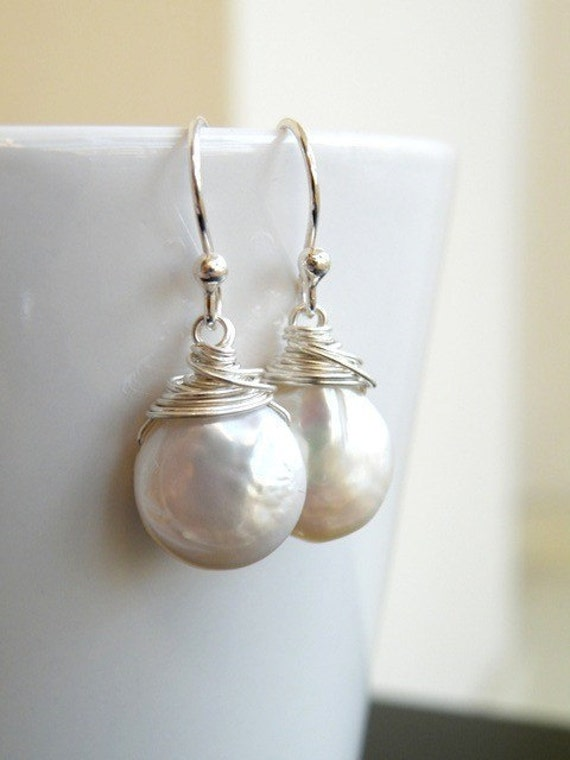 Coin Pearl Wire Wrapped Sterling Dangle Earrings GE5