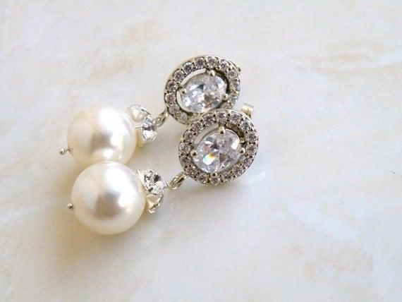 Bridal Earrings CZ Swarovski Ivory Pearl Silver CNE11
