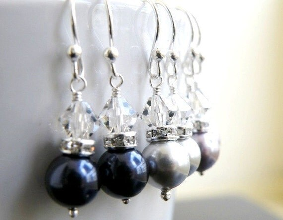 Navy Blue Pearl Earrings Sterling Silver BE3