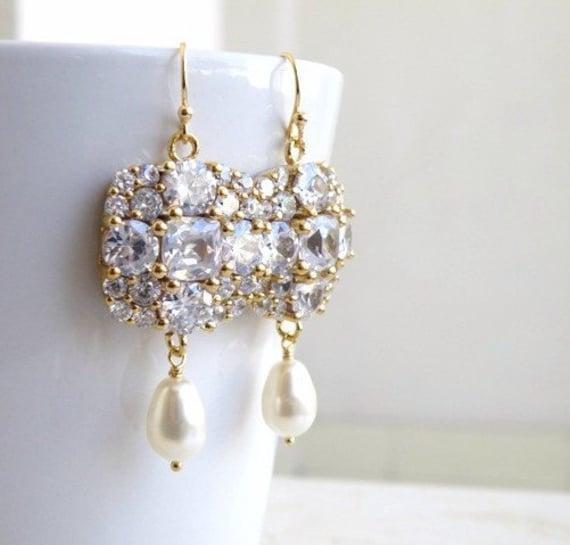 Swarovski Ivory Teardrop Pearl Cushion CZ Gold Chandelier Earrings IE5