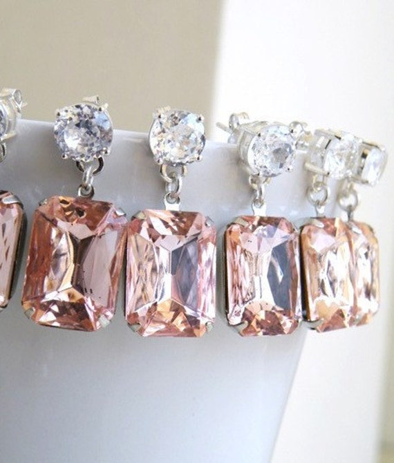 Pastel Pink Earrings Foiled Stone Silver Stud of 3 pairs