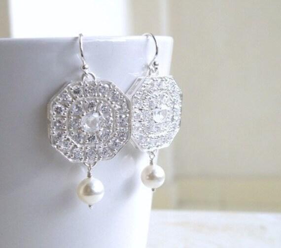 White Pearl Cushion Octagon CZ Silver Chandelier Earrings IE7