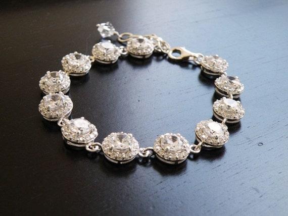 Items similar to Bridal Bracelet CZ Silver Halo CNB4P on Etsy