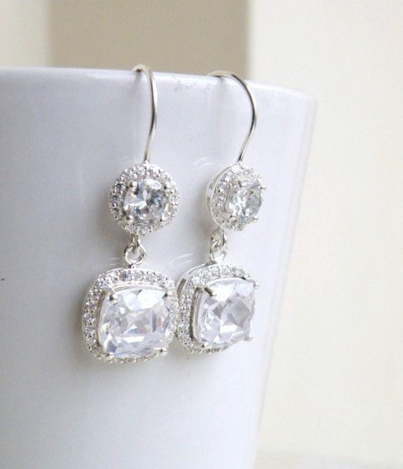Cushion CZ Halo Rhinestone Dangle Hook Silver Earrings IEC1