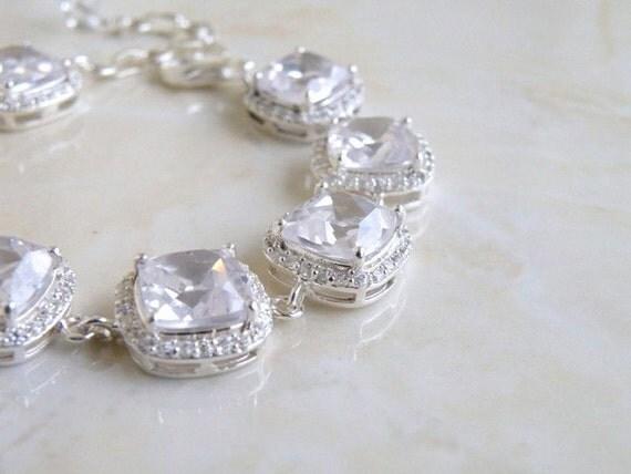 Bridal Bracelet Cushion CZ Halo Rhinestone Silver IBC1