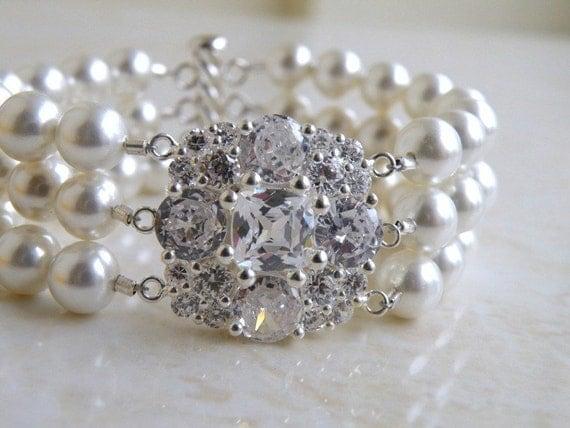 Bridal Bracelet Pearl Cushion Cubic Zirconia Silver 3 Strand Brooch Bracelet - Itzel B2 Wedding Jewelry