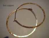 hoop earrings ...14kt ROSE GOLD FILLED...1.5 inch...plain flush catch...hoop earrings...