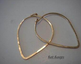 14kt gold filled....medium....FALLING LEAVES...hoop earrings...