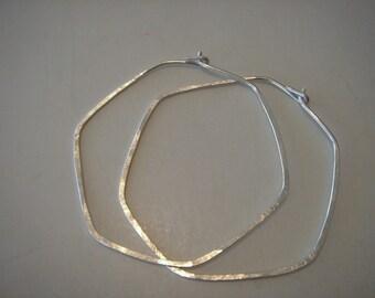 sterling silver...large...SCALLOPED...hoop earrings...