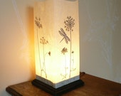 Queen Anne Lace box lantern with dragonfly image