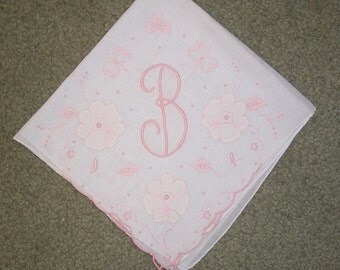 Vintage White Hanky with a Pink Initial B - Handkerchief Hankie