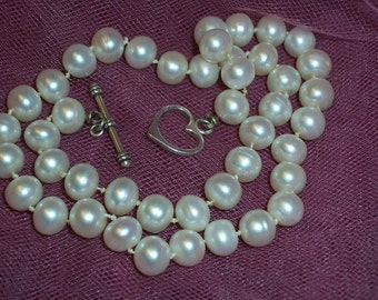 Necklace - Hand Knotted 8mm Freshwater Pearls