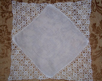 Vintage Lace Bridal Hanky - Hankie Handkerchief with Lots of Lace