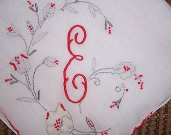Vintage White Wedding Hanky With a Red Initial E - Handkerchief Hankie