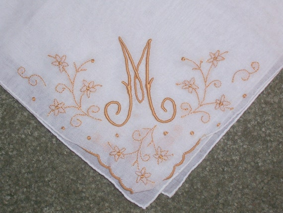 Vintage White Hanky with a Gold or Tan Initial M - Handkerchief Hankie