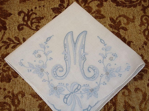 Vintage Something Blue Hanky with Blue Initial M - Hankie Handkerchief