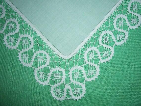 Antique Handmade White Lace Wedding Hanky - Hankie Handkerchief