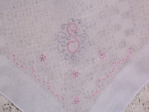 Vintage White Hanky with a Pink  Initial S - Handkerchief Hankie