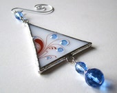 Holiday Ornament Icy Sapphire Blue Modern Fused Glass