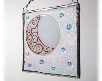 Moon and Stars Fused Glass Light Catcher Suncatcher