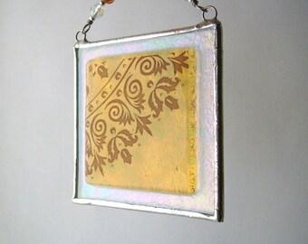 Amber Mehndi Fused Glass Light Catcher Suncatcher