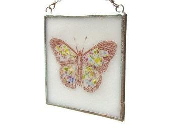 Butterfly Suncatcher Fused Glass Light Catcher White Spring