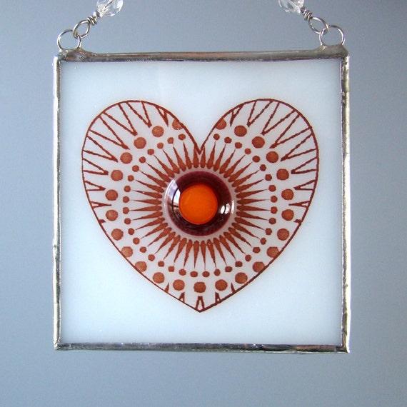 Heart Burst Fused Glass Suncatcher Light Catcher