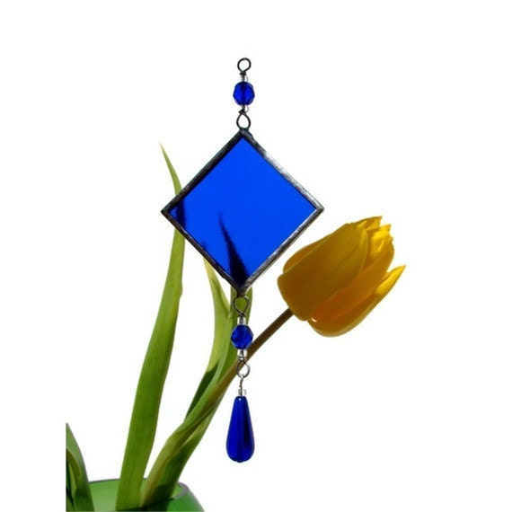 Stained Glass Suncatcher Blue or Pick Your Color Teacher Gift Blue Suncatcher