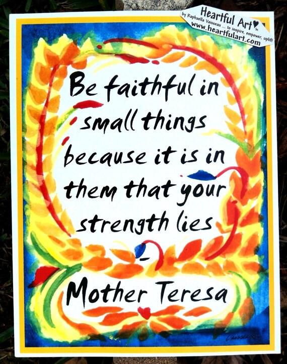 BE FAITHFUL Mother TERESA Inspirational Quote Motivational Print Spiritual Meditation Typography Decor Heartful Art by Raphaella Vaisseau