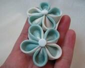 Soft Aqua Swirl - Kanzashi Hair Flowers