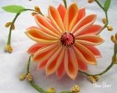 Kanzashi Fabric Hair Flower - Candied Peach