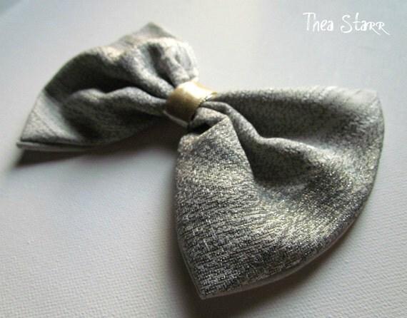 Fabric Hair Bow - Silver Bow