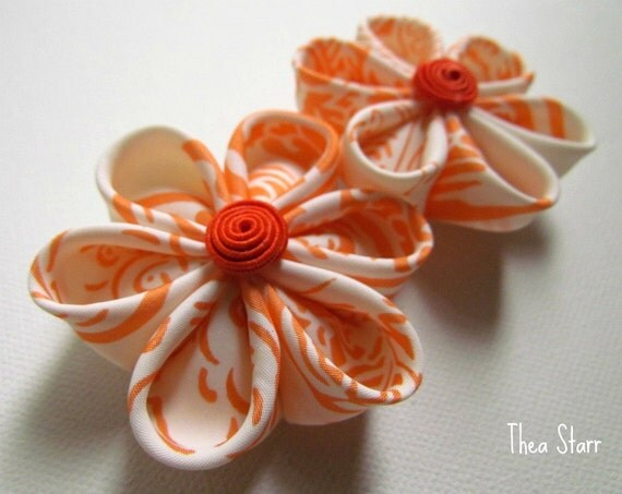 Kanzashi Flower Hair Clips - Orange Cream
