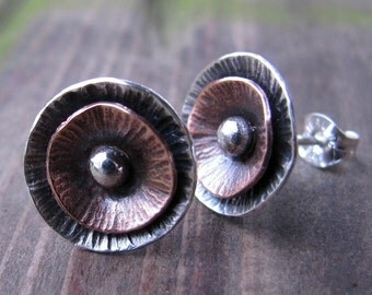Sterling and Copper Poppy Studs