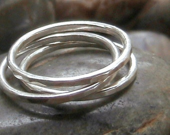 Set of 3 Thick Sterling Silver Stacking Rings