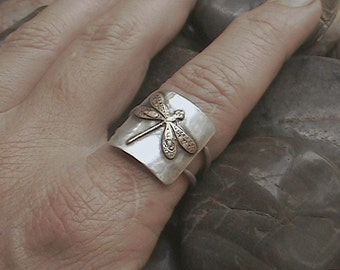 Dragonfly On My Finger Sterling Silver Ring