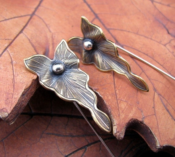 Brass Leaves On Sterling Silver Earrings