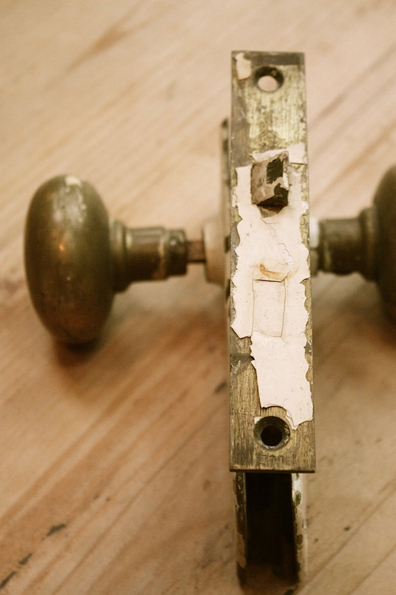 Vintage brass and chippy paint door lock handles set